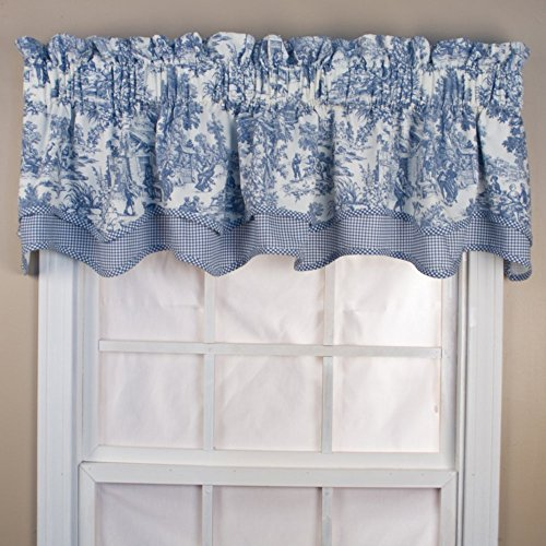 Victoria Park Toile 68 Inch By 24 Tailored Tier Curtains Blue