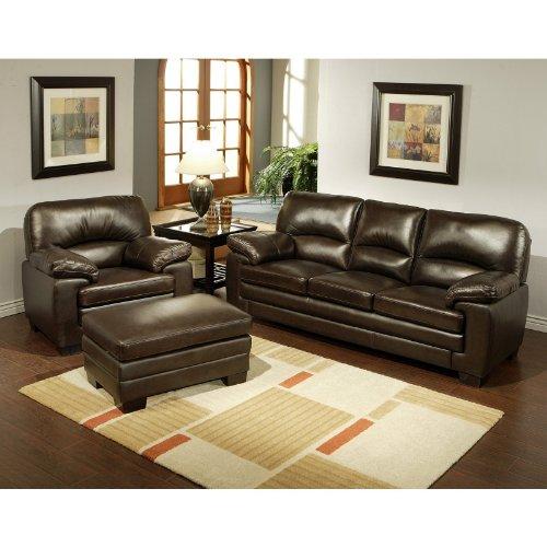 Italian Leather 3PC Sofa, Armchair & Ottoman