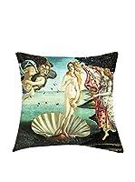 ARTE E TESSUTI by MANIFATTURE COTONIERE Cojín Con Relleno Extraíble Botticelli-Venere Negro/Multicolor