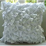 Vintage Whites - 16x16 inches Square Decorative Throw White Satin Pillow Covers with Satin Ruffles