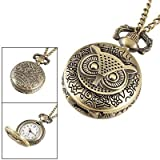 Vantasy Womens Ladies Bronze Tone Owl Hunter Case Floral Necklace Pocket Watch