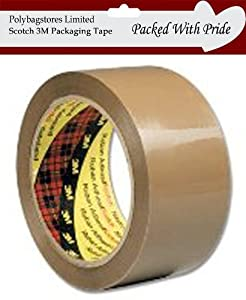 3M Scotch BUFF Brown Packaging Parcel Tape 50mm x 66m - Pack of 2