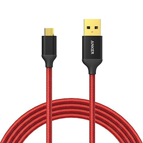 Anker 6ft / 1.8m Nylon Braided Tangle-Free Micro USB Cable with Gold-Plated Connectors for Android, Samsung, HTC, Nokia, Sony and More