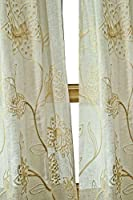 Ivory Linen sheer with crewel embroidery