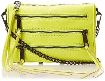 Rebecca Minkoff Mini 5-zip Convertible Cross Body Bag,Acid Yellow,One Size