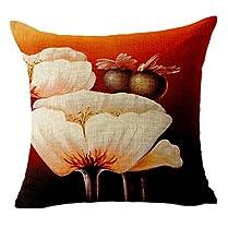Bigood Flower Pattern Cotton Linen Throw Pillow Case Cushion Cover Flower C