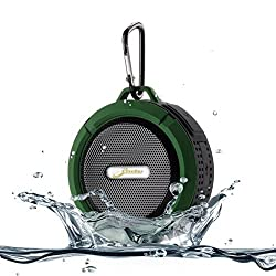 [Waterproof & Dustproof with Great Sound] Original Elivebuy Wireless Bluetooth 3.0 Outdoor / Shower Speaker Handsfree Portable Speakerphone with Built-in Mic Control Buttons and Dedicated Suction Cup for Showers Bathroom Pool Boat Car Beach & Outdoor Use Compatible with Apple Iphone 6 6 plus 5s 5 Galaxy S5 S4 S3 HTC One Galaxy Note 3 2 Mp3 Player - Army Green