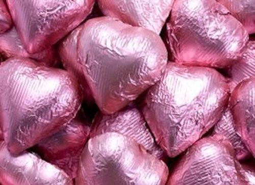 Bright Pink Foiled Milk Chocolate Hearts 1LB Bag