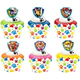 24 PAW Patrol Ruff Ruff Rescue Cupcake Rings and 24 Paw Print Cupcake Wrappers