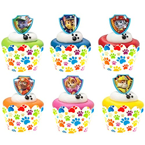 24 PAW Patrol Ruff Ruff Rescue Cupcake Rings and 24 Paw Print Cupcake Wrappers - 1
