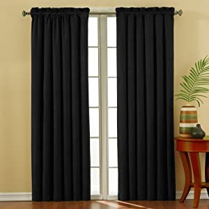 Eclipse Suede 42-Inch by 84-Inch Thermaback Blackout Panel, Black