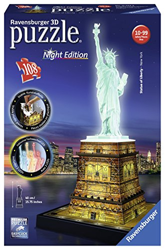 Ravensburger - Puzzle Building 3D Night Edition: Estatua de la Libertad (12596)