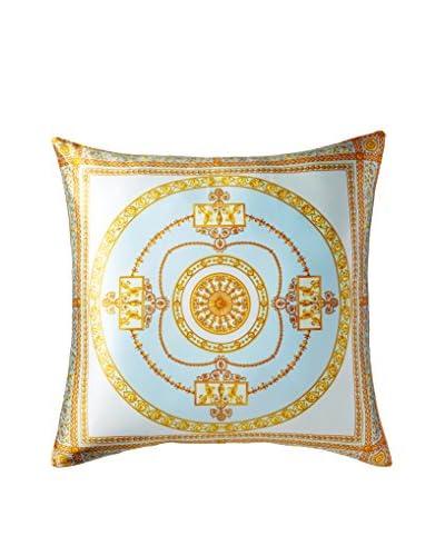 Escada Medallion Scarf Pillow, Ice Blue/Gold