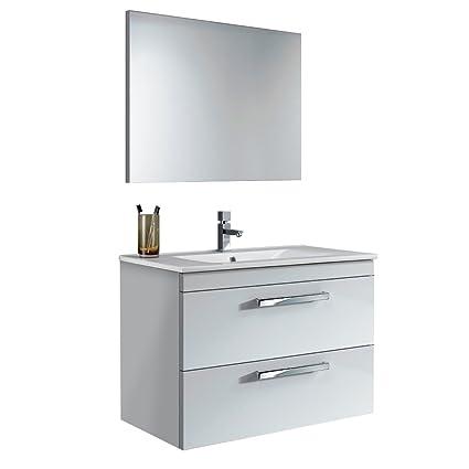 Set Mobile Aruba completo di lavabo + specchio arredamento bagno casa 305161BO