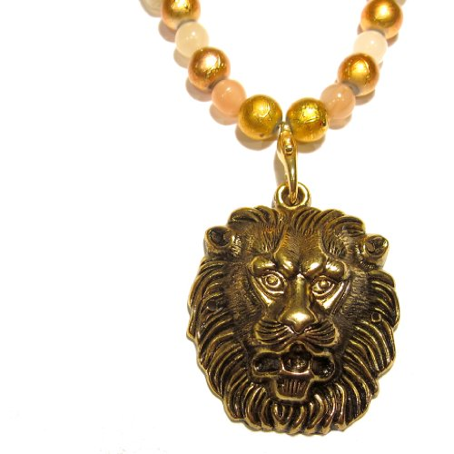 Moonstone Necklace 02 Pendant Gold Lion Beaded Crystal Healing Gemstone Reiki 18