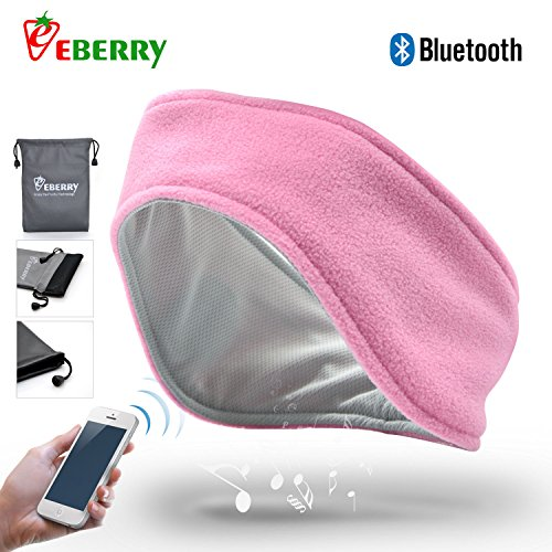 eBerry® Ultra Thin 4mm Bluetooth Sports Headband Earphones Sweat Absorption Cap Music Sleepband Sleep Headphones Headset Running Headgear with Microphone (Medium Size, Pink) + Waterproof Carry Pouch
