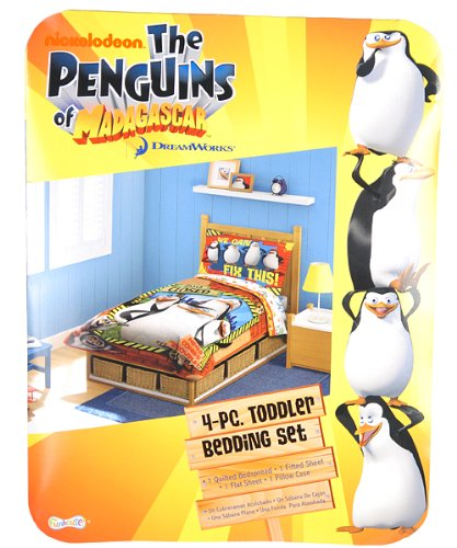 Baby Boom-Penguins Madagascar 4Pc Toddler Bedding Set,Quilted Bedspread, Sheets, Pillowcase, Crib, New