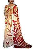 Om Saree's Georgette Buiscuit and red Colored Designer Saree for Womens and Girls