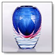 Blue & Pink Sommerso Oval Art Glass Vase with Polished Stripes