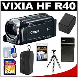 Canon Vixia HF R40 8GB Flash Memory 1080p HD Digital Video Camcorder with 32GB Card + Battery & Charger + Case + Flex Tripod + Accessory Kit