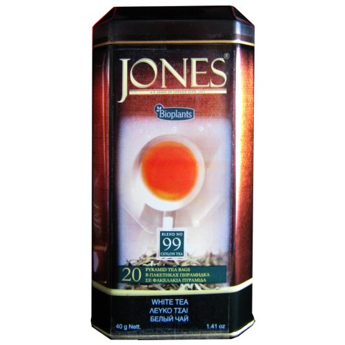 Bioplants Jones White Tea (Pack of 1, Total 20 Pyramid Teabags)