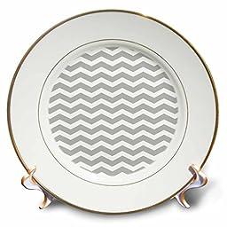 3dRose cp_56640_1 Grey & White Chevron Zig Zag Pattern Aka Trendy Gray Or Stylish Silver Porcelain Plate, 8\