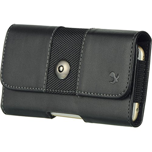 Galaxy S7 EDGE , GALAXY S6 EDGE PLUS , NOTE 5 , NOTE 4 , NOTE 3 , NOTE 2 ~ EXTRA LARGE Horizontal Leather Pouch Carrying Case Holster with Belt Clip and Magnetic Closure - Black 2 tone-1 (Galaxy Note Edge Cell Phone Case compare prices)