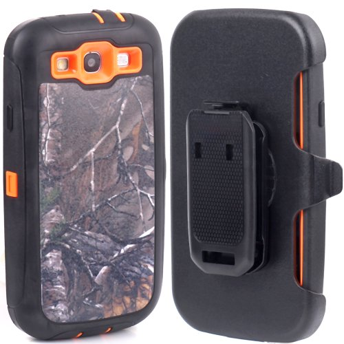 Huaxia Datacom Defender Military Hybrid Impact Case with Holster Belt Clip for Samsung Galaxy SIII S3 I9300 Fits Sprint L710 - Verizon I535 - Att Wireless I747 - T-mobile T999 - Us Cellular R530 - Camoflage Branch on Orange Core