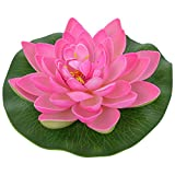 Veena Artificial Plastic Floating Pink Lotus with Rubber Leaf - Set of 3 (17 cms Diameter, Pink)