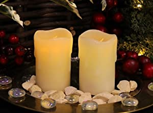 Flicker Flame LED Mini Stub Melted Effect Wax Candles (Set of 2) from Primrose