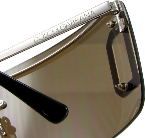 Dolce & Gabbana D&G 400S 130 Fashion Sunglasses, Shield-Style, Big Logo, Chrome Silver Frame/ Brown Lenses