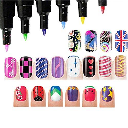 Kinghard 16 Colors Set Nail Art Pen for 3D Nail Art DIY Decoration Nail Polish Pen Set (Heart Fingernail Polish compare prices)