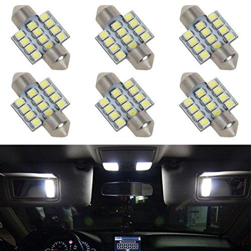 Partsam 6pcs White LED 12 SMD Interior Dome Map Lights Car Accessories Lamps 31mm Festoon DE3175 (Nissan Maxima 2006 Accessories compare prices)