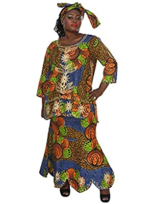 African Planet Women's Royal African Queen Zig Zag Skirt Set with Head Scarf