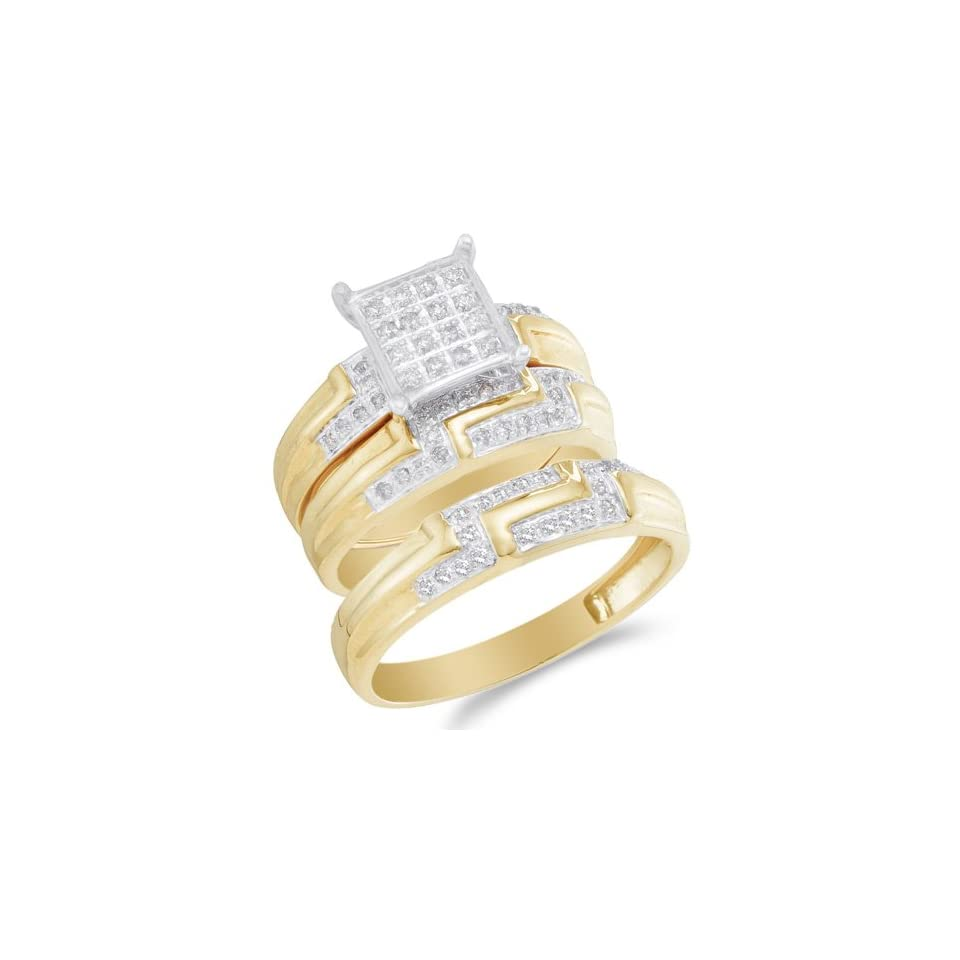 Size 5   10K Two Tone Gold Diamond Mens and Ladies His & Hers Trio 3 Three Ring Bridal Matching Engagement Wedding Ring Band Set   Square Princess Shape Center Setting w/ Pave Channel Set Round Diamonds   (2/5 cttw)   SEE PRODUCT DESCRIPTION TO CHOOSE BO