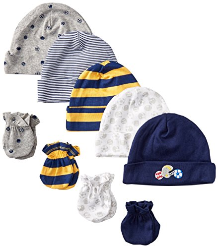 Gerber Baby-Boys Newborn Sports Caps and Mitten Bundle, Sports, New Born (Pack of 5 and 4)