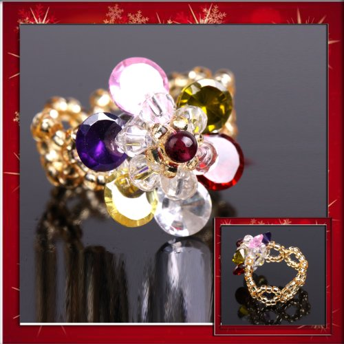 SOLID LADY COLORFUL FLOWER CLUSTER RING -AMAZING SETTING-BEAUTIFUL