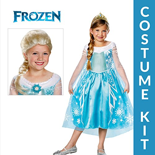 Girl's Frozen Elsa Deluxe Premium Costume Set with Wig - Medium