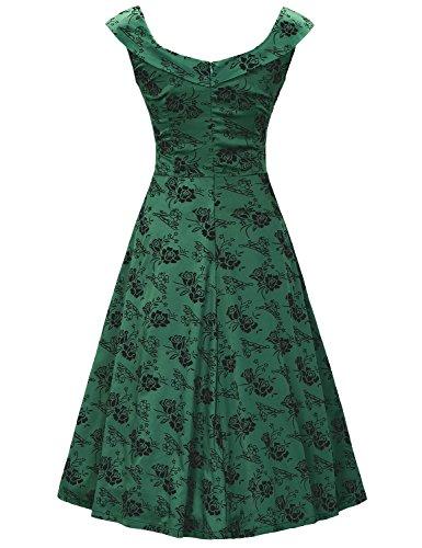 MUXXN Womens 1950s Scoop Neck Off Shoulder Cocktail Dress, Green/Black, 2XL-ASIA/L-US