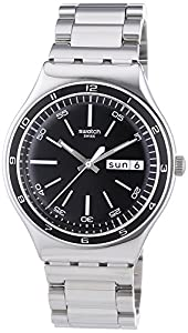 Swatch Men's YGS749G Quarts Date Black Dial Stainless Steel Watch