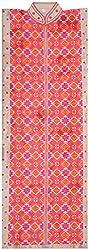 The Phulkari Women's Silk Unstitched Kurti Material (Orange Pink)