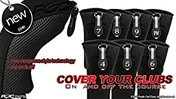 Black All Hybrid Headcover Set 4 5 6 7 8 9 Pw Golf Club Covers Head Cover Neoprene Mesh Complete