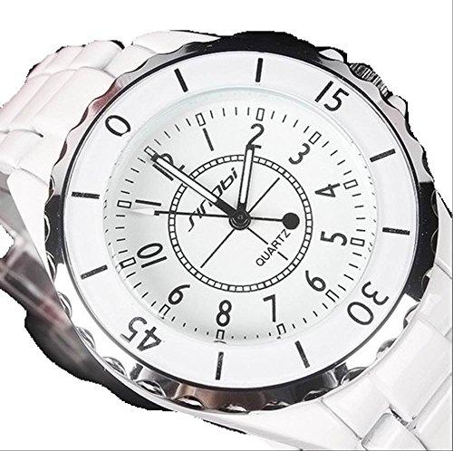 Gifts Christmas day watch SINOBI quartz mens ladies luxury fashion cool casual pair, [with wipe on BOX clock] (white women)