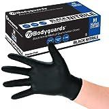 Bodyguard Disposable Black Nitrile Gloves Large