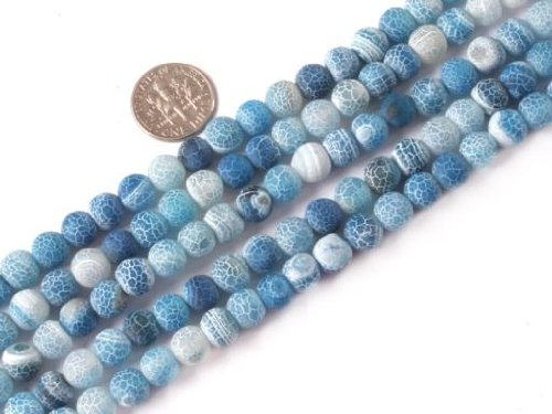 Sweet & Happy Girl'S Store 8Mm Round Gemstone Blue Frost Agate Beads Strand 15