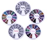 Nail Rhinestones Wheel- AMAZING VALUE BUNDLE of Manicure Nail Art Rhinestones By Cheeky- 5 Nail Rhinestones Wheels with Total of 7400 Nailart Rhinestones.