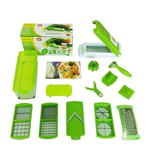 DOODEEN Vegetable and Fruit Salad Nicer Dicer Plus Multi Chopper 12 Pieces,Green by DOODEEN (Fruit And Vegetable Slicer compare prices)