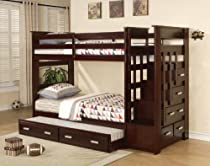 Hot Sale Acme Furniture Over Twin Bunk Bed Ladder Trundle Espresso Finish Youth Allentown