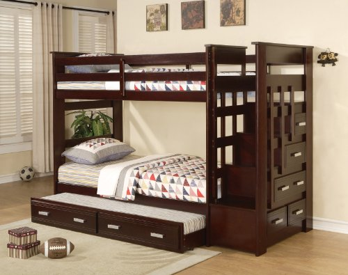 Luxury Acme Furniture Over Twin Bunk Bed Ladder Trundle Espresso Finish Youth Allentown