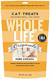Whole Life Pet Single Ingredient USA Freeze Dried Chicken Breast Treats for Cats, 4-Ounce